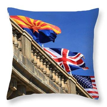 Three Flags At London Bridge Throw Pillow