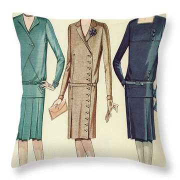 Three Flappers Modelling French Designer Outfits, 1928 Throw Pillow