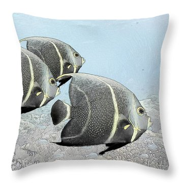 Three French Angels Throw Pillow