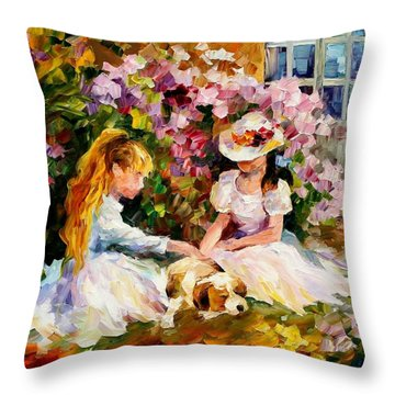 Three  Friends Throw Pillow by Leonid Afremov