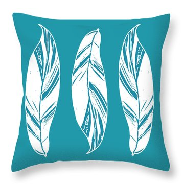 Three Ginger Leaves - Teal Throw Pillow