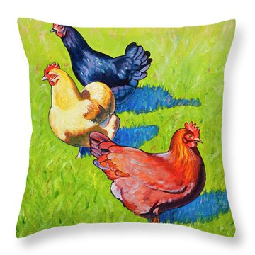 Three Girls Throw Pillow