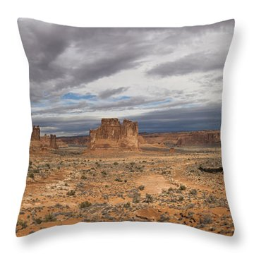 Three Gossips And Courthouse Towers Panorama - Arches National Park - Moab Utah Throw Pillow