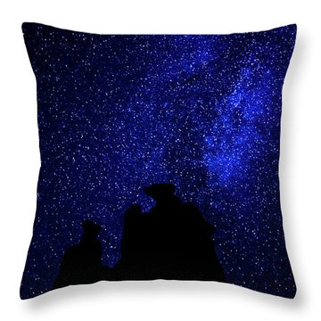Throw Pillow featuring the photograph Three Gossips And The Milky Way - Arches National Park by Gary Whitton