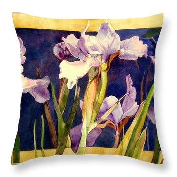 Three Gossips Throw Pillow by Linda  Marie Carroll