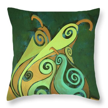 Three Groovy Little Pears Throw Pillow