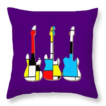 Three Guitars Modern Tee Throw Pillow by Edward Fielding
