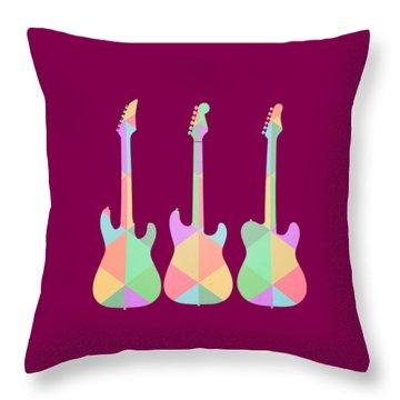 Three Guitars Triangles Tee Throw Pillow by Edward Fielding