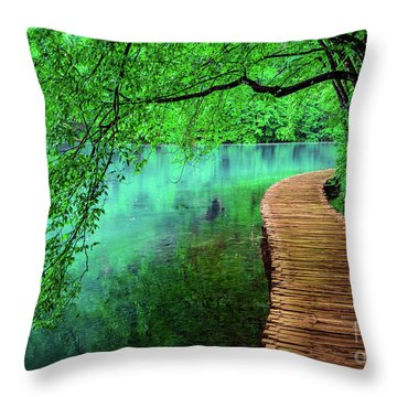 Tree Hanging Over Turquoise Lakes, Plitvice Lakes National Park, Croatia Throw Pillow