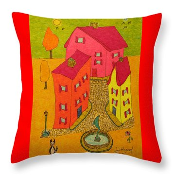 Three Homes With Sculpture Fountain Throw Pillow