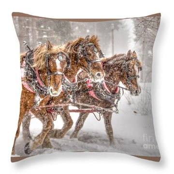 Three Horses - Color Throw Pillow