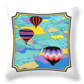 Three Hot Air Balloons Arial Absract Landscape - Square Format Throw Pillow