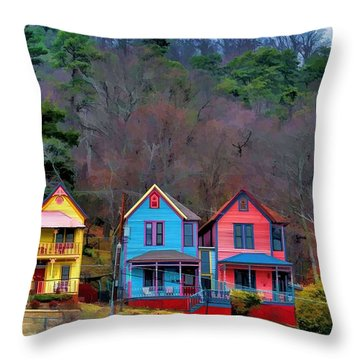 Throw Pillow featuring the photograph Three Houses Hot Springs Ar by Diana Mary Sharpton