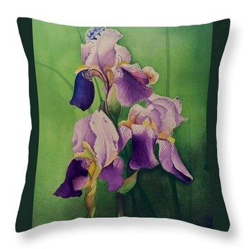 Three Iris Throw Pillow