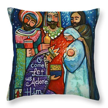 Three Kings O Come Let Us Adore Him Throw Pillow