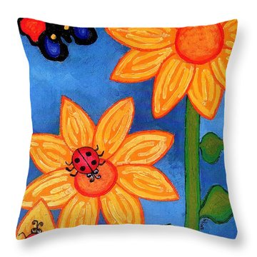 Three Ladybugs And Butterfly Throw Pillow by Genevieve Esson