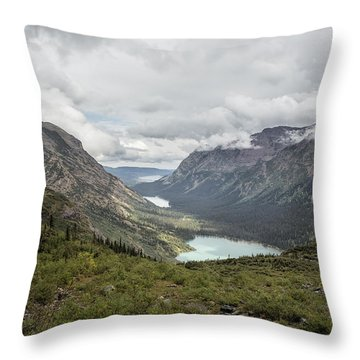 Three Lakes Viewed From Grinnell Glacier Throw Pillow