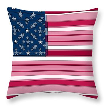 Three Layered Flag Throw Pillow by David Bridburg