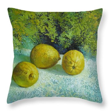 Throw Pillow featuring the painting Three Lemons by Elena Oleniuc
