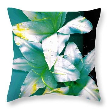 Throw Pillow featuring the photograph Three Lilies by Carolyn Repka