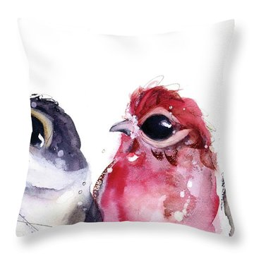 Throw Pillow featuring the painting Three Little Birds by Dawn Derman