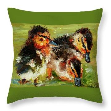Three Little Ducks Throw Pillow
