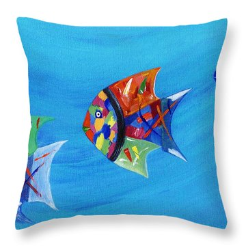 Throw Pillow featuring the painting Three Little Fishy's by Jamie Frier
