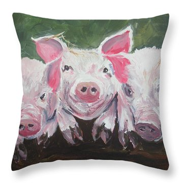 Three Little Pigs Throw Pillow
