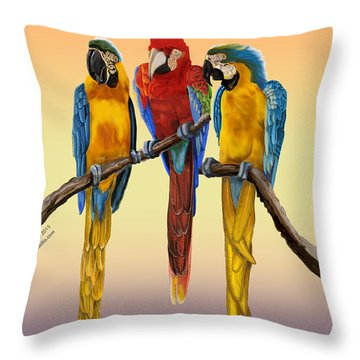 Three Macaws Hanging Out Throw Pillow