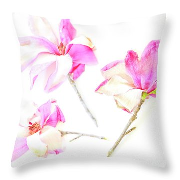 Three Magnolia Flowers Throw Pillow by Linde Townsend