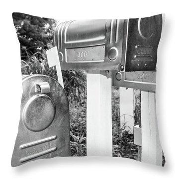 Three Mailboxes Throw Pillow