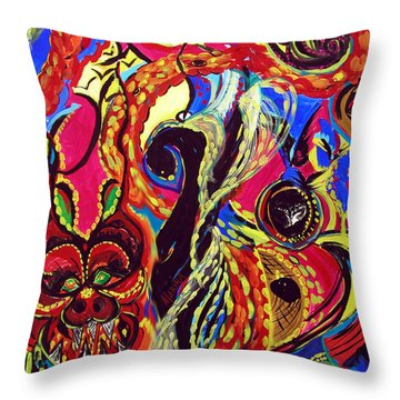 Angel And Dragon Throw Pillow by Marina Petro