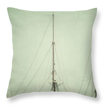 Three Masts Throw Pillow by Lisa Russo