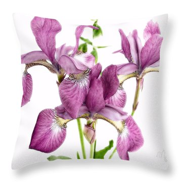Three Mauve Japanese Irises Throw Pillow