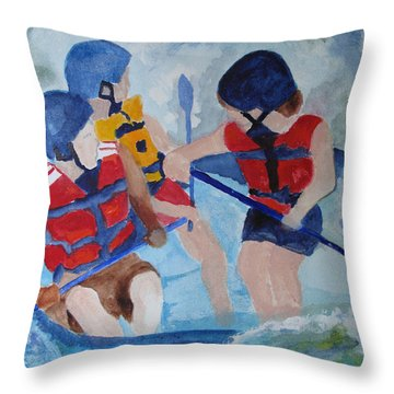 Throw Pillow featuring the painting Three Men In A Tube by Sandy McIntire