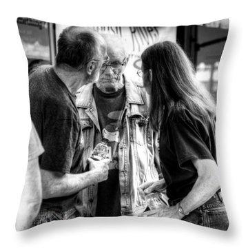 Three Men On A Sidewalk Throw Pillow