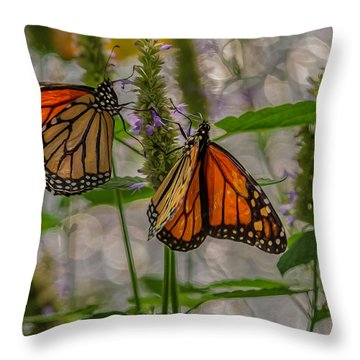 Three Monarch Butterfly Throw Pillow