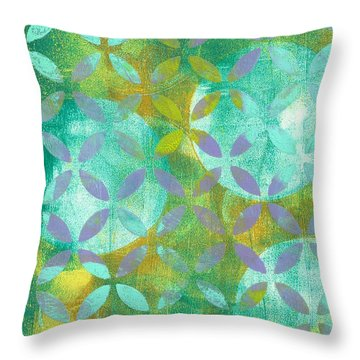 Throw Pillow featuring the mixed media Three Moons Rising by Lisa Noneman