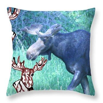 Three Moose Throw Pillow