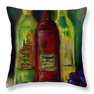 Three More Bottles Of Wine Throw Pillow by Frances Marino