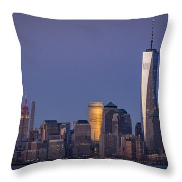 Three New York Symbols Throw Pillow