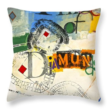 Throw Pillow featuring the painting Three Of Diamonds 31-52 by Cliff Spohn