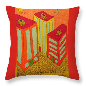 Three Office Towers Throw Pillow