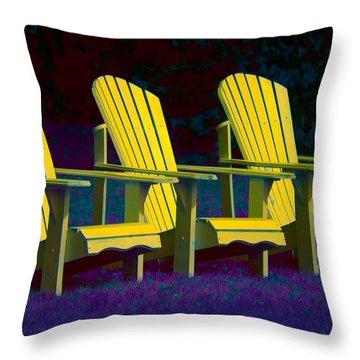 Three Old Friends Throw Pillow by Elisabeth Van Eyken
