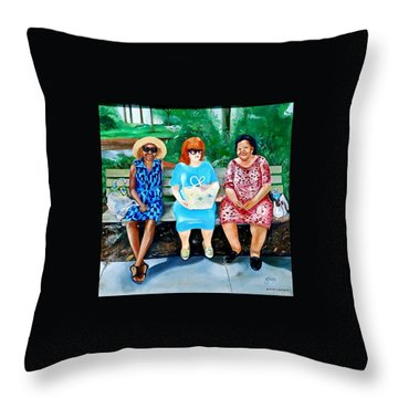 Three On A Bench Throw Pillow