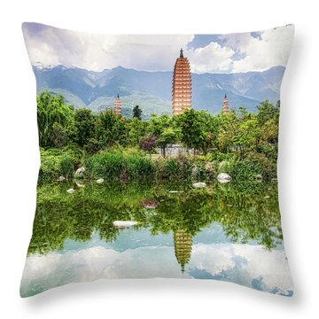 Throw Pillow featuring the photograph Three Pagodas by Wade Aiken