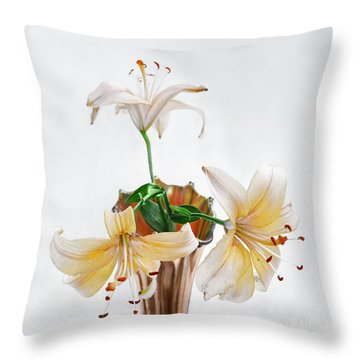 Three Pale Gold Lilies Still Life Throw Pillow by Louise Kumpf