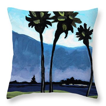 Three Palm Trees Throw Pillow by Elizabeth Robinette Tyndall