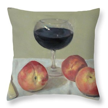 Three Peaches, Wine And Knife Throw Pillow