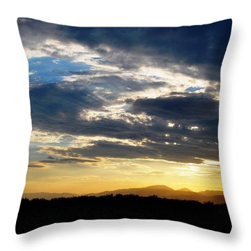 Three Peak Sunset Swirl Skyscape Throw Pillow
